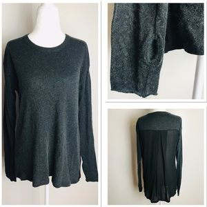 Enza Costa Cashmere Long Sleeve Sheer Back Sweater